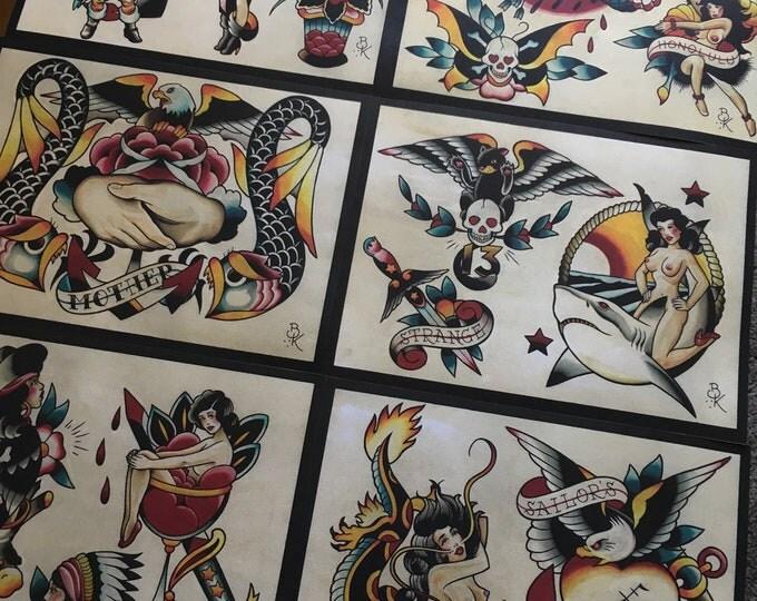 Tattoo Flash Set 12 by Brian Kelly.  6 Sheets