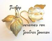 Reserved for Jennifer Johnson -- Handmade Earrings -- vintage gold plated leaf beadcaps on cream/ivory pearls