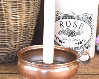 English vintage copper chamberstick or bedside candlestick candle holder
