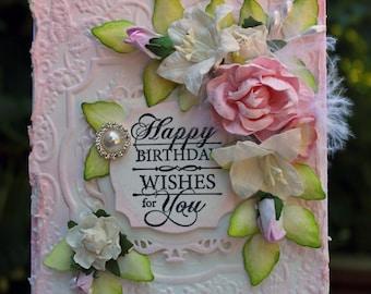Happy Birthday handmade card, OOAK card, Pink and White Flower Card