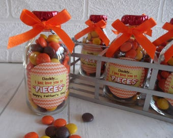 I Just Love You To PIECES-Reese's Pieces In Mini Milk Bottle / Fathers Day / Mothers Day Gift - Wedding and Party Favour - Personalised Gift