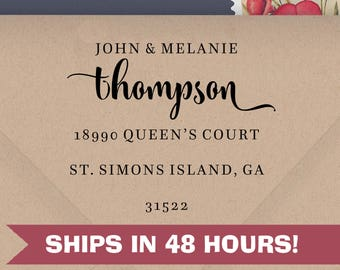 Personalized Address Stamp, Thompson Couple Stamp, Self Inking Return Address Stamps, Custom Rubber Stamps