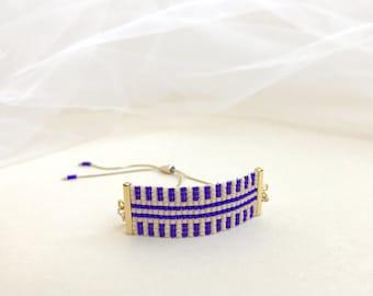 Beadwoven Adjustable Gold Chain Bracelet in Ultraviolet