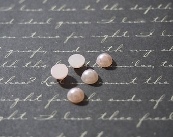 5 appliques demi-cabochons round Pearly pink 6x3mm