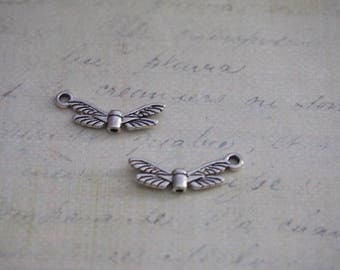 2 charms / beads on silver-plated 22x7mm wings
