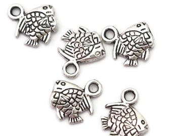 5 charm fish silver-plated 11x10mm