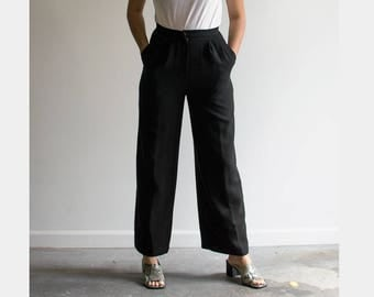 80s Black Straight Leg Trousers / High Waisted Pants / Small