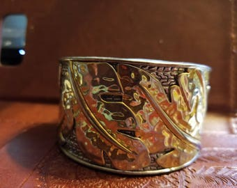 Vintage Jewelry Heavy 90-95% Silver and Gold leaf design cuff Bracelet