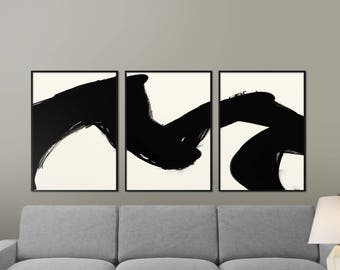 White abstract art etsy for Minimal art black and white