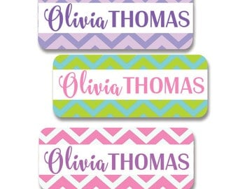30 Waterproof Name Labels for Girls, Chevron, Tribal, Dishwasher Safe, Baby Bottle Labels, Daycare, Sippy Cup Labels