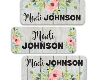 Girl School Name Labels, 30 Waterproof Floral Stickers for school, daycare, camp.  Dishwasher Safe, Flower Waterproof Labels