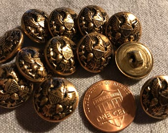 "12 Hollow Puffed Domed Brass Tone Metal Eagle Buttons Almost 5/8"" 15.2mm # 8326"
