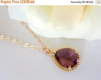 SALE Bridesmaid Jewelry, Plum Necklace, Eggplant, Gold Filled, Burgundy, Purple, Wedding Jewelry, Bridesmaid Gifts, Weddings Gifts, Pendant,