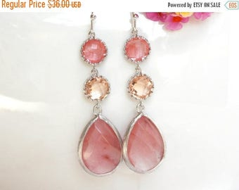 SALE Wedding Jewelry,Coral and Peach Earrings,Blush, Bridesmaids Gifts, Long Earrings, Dangle, Brides Gifts,Bridesmaids Gifts,Bridesmaids Je