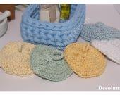 Idée cadeau éco-responsable zéro déchet avec  ces tawashis éponges japonaises  réalisées au crochet en coton recyclé