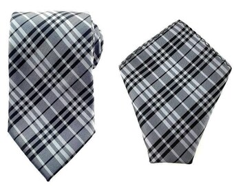 Mens Necktie Grey Black Checks 8.5 CM Necktie with Pocket Square. Grey Checkered Wedding Necktie. Necktie Pocket Square. Groomsmen Necktie
