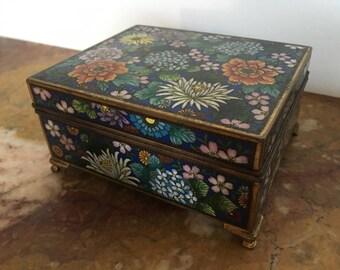 Vintage gilt Japanese millefleur cloisonne box, Meiji era, engraved interior, #37