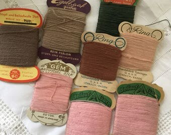 A selection  of vintage German and Irish threads and wools