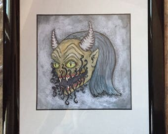 The Devil original illustration/watercolor painting in frames / Japanese demon