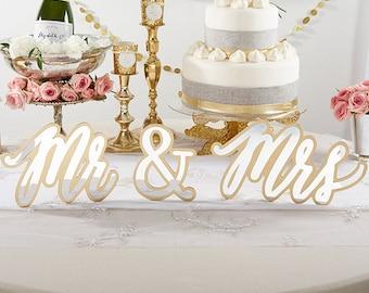 Gold Mr. & Mrs. Sweetheart Table Sign Garden Wedding Bridal Shower Bachelorette Buffet Tables Dessert Bar Decor Signage Backdrops Decoration
