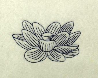 Lotus Flower Line Art Embroidery Design Download Pattern
