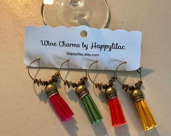 Tassel Wine Charm, Four Wine Charms, Suede Tassel Wine Charm, Wine Gift, Wine Accessory, Unique Wine Charms, Wine, Wine Glass Charm, Wedding