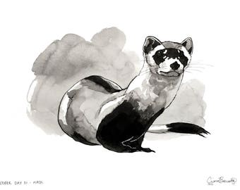 Ferret Ink Drawing Small Print Black Footed Cute Weasel Animal Art Minimalist Artwork Pen and Ink Painting Wall Affordable Art Freehand