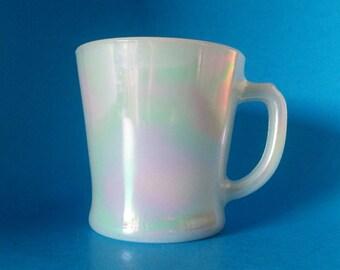 RARE Fire King Aurora D Handled Mug, Iridescent Pearl Fire King Mug