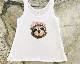 Organic Cotton Women's Tank, Sloth with Flower Crown, Eco-Friendly Apparel