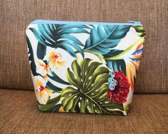 Hawaiian Tropical Floral Pouch with Zipper