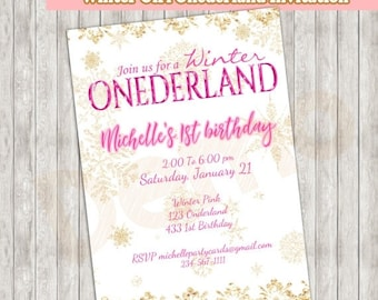 50off winter girl onederland invitation winter onederland girl invitation - Winter Onederland Party Invitations