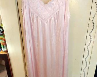 Vintage Vanity Fair Long Pink Nightgown Size XXXL