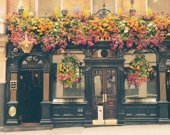 London Pub, London Photography, British Decor, Fine Art Print, Travel Photo, English Pub, Home Decor, Office Decor, Wall Art, Brown, Gold
