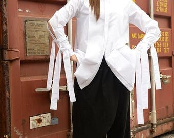 ON SALE Asymmetric Shirt / Extravagant White Top / Tunic with Long Ribbons / Loose Top by METAMORPHOZA