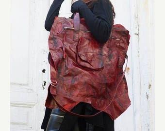 SALE Asymmetrical Red Leather Bag / Large Shoulder Tote Bag / Genuine Leather Pocket Bag / High Fashion Modern Accessory by METAMORPHOZA