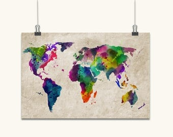 Map art print etsy uk watercolor map of the world map art print canvas art original artwork gumiabroncs Image collections