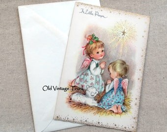 Vintage Little Angels Praying With A Lamb Christmas Card
