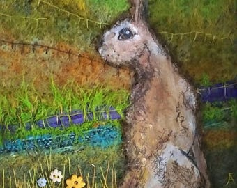 Needle Felted Mixed Media artwork Hare