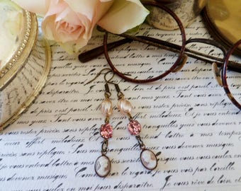 Shabby chic mother of Pearl and pink crystal earrings