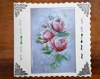 Pink roses bouquet - hand made 3D card