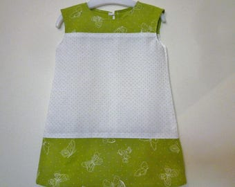 Dress baby green polka dots and white butterflies, size 18 months/2 years