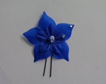 pic 1 blue rhinestone wedding bridal silk flower