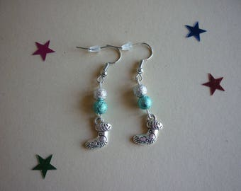 Shiny silver, blue beads and silver metal Christmas stocking charm earrings.