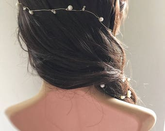 Bridal hair vine with single golden wire and ivory beads, wedding hairvine, boho wedding hair accessories - circlet, halo