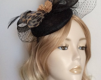 BLACK and LEOPARD PRINT Fascinator , Sinamay Button,with Crin , net, Chiffon flower,on a small headband
