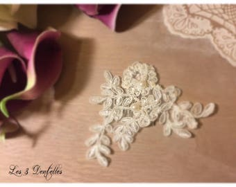 Pearl ivory lace wedding hair comb * time *.