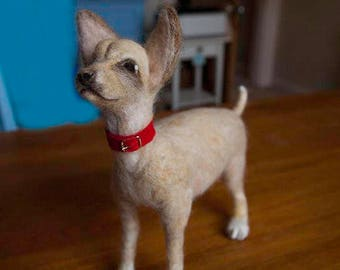 Needle Felt Fibre Art Chihuahua Dog (commission)