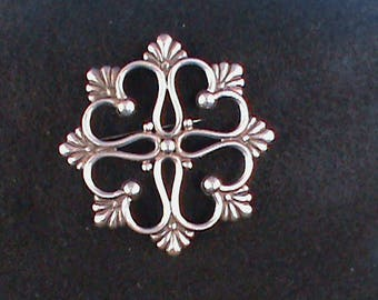 Silver Pin with Heart Motif - Hector Aguilar