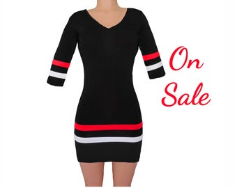 Red + Black Collegiate Stripe Dress