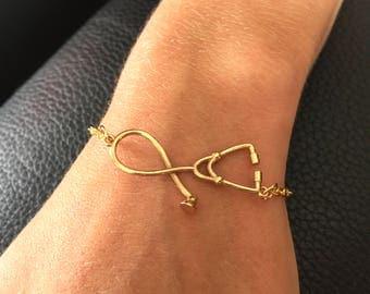 Nurse Stethoscope gold costume jewelry BRACELET